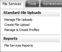 File Services File Services What is it? Figure 22: Santander Treasury Link File Services menu The File Services module provides services for the exchange of files between you and Santander.