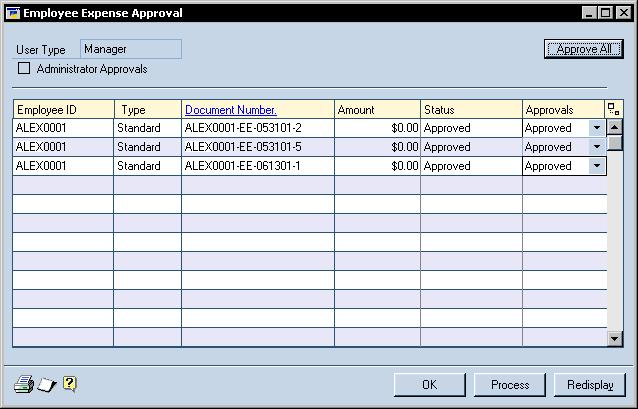 2. Open the Employee Expense Approval window. Transactions > Expense Approvals 3. To approve expense reports that were not approved in Business Portal, select Approve from the Approvals list. 4.
