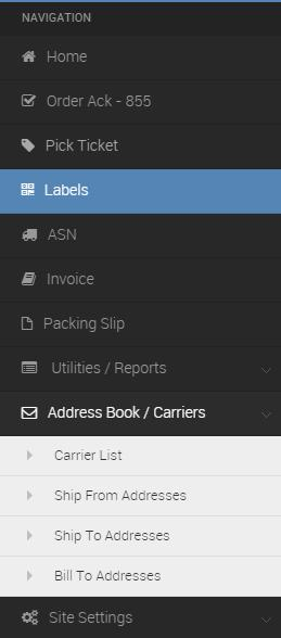 VII USING THE ADDRESS BOOK / CARRIERS TAB The carriers list is pre-populated with the most common carriers,