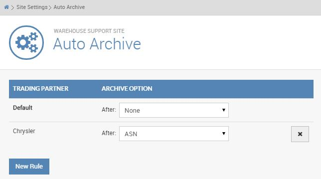 VIII USING THE SITE SETTINGS TAB 1 The auto archive setting has a default setting of NONE, which means your POs do not automatically archive If you want to change this option to auto archive your POs