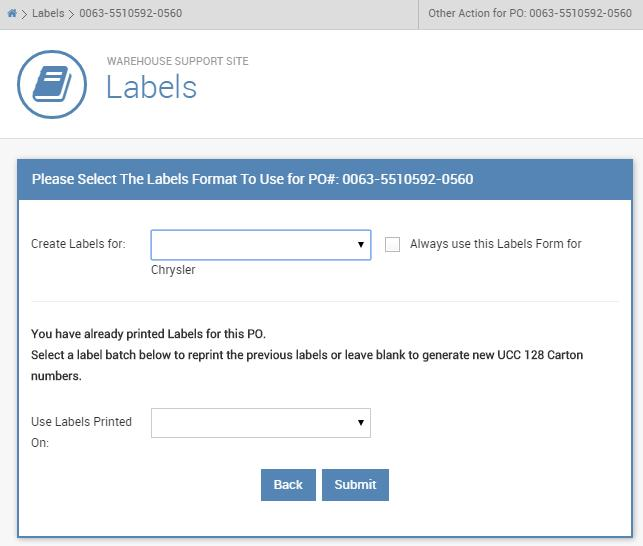2 When you re ready, select the purchase order that you re looking to ship (from the labels page) and it will bring you to the label format page a An added feature to the new WSS site is the ability