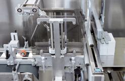 The folding cartons can be stacked either lying down or standing up on edge. A carton feed system can be configured on the front of the machine if necessary.