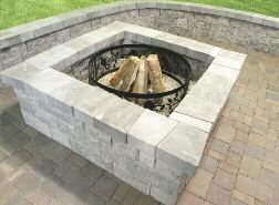 Fire Pit - Square Add a square fire pit to your paver or concrete patio quick and easy. Stack up the blocks using our predetermined patterns for even faster results.