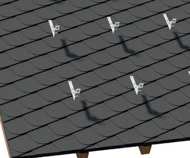 2.2 Installation Roof Hooks Roof fastening for slate The positioning of the roof hooks must be determined according to the structural requirements of the location and the installation situation.
