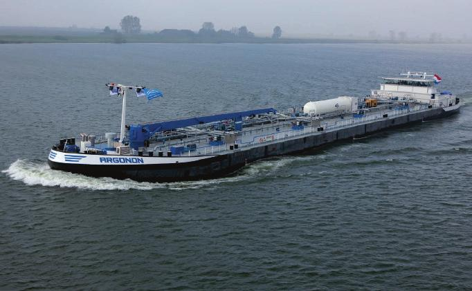 The Argonon is the bunkering ship that successfully introduced LNG in inland shipping in Belgium. The LNG for the Argonon was loaded onto trucks in Zeebrugge and delivered in the port of Antwerp.
