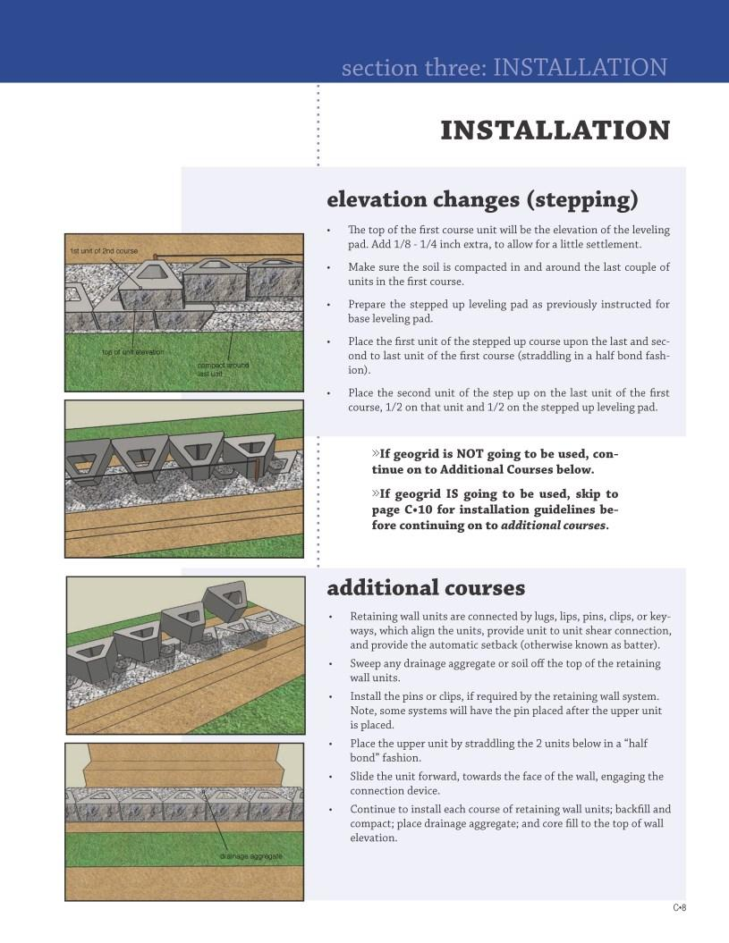 INSTALLATION elevation changes (stepping) The top of the first course unit will be the elevation of the leveling pad. Add 1/8-1/4 inch extra, to allow for a little settlement.