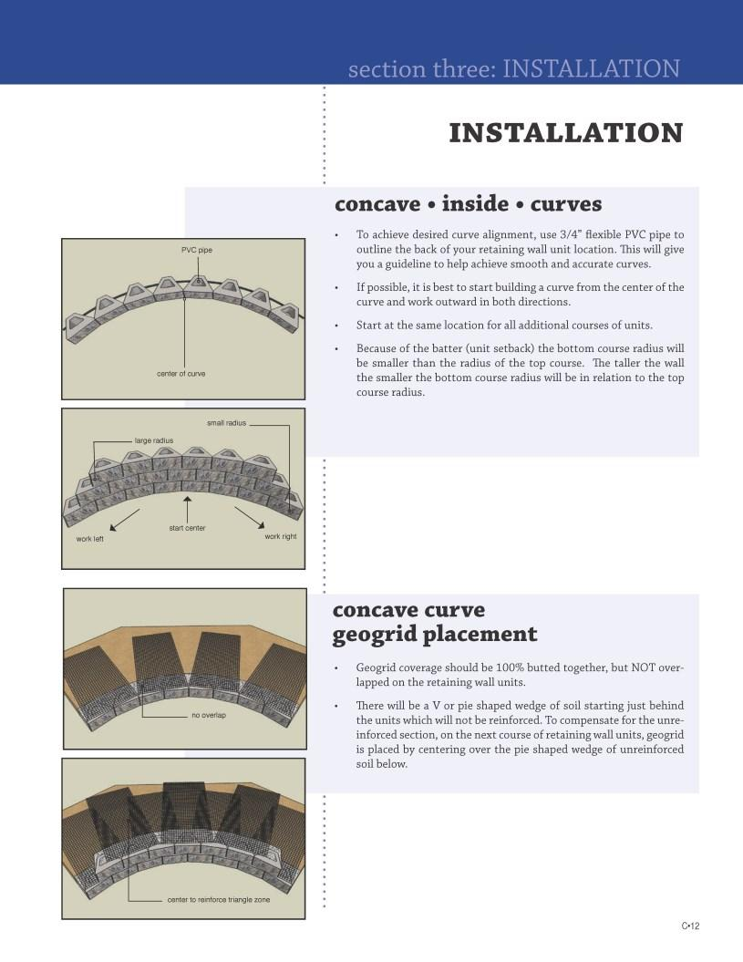 INSTALLATION concave inside curves To achieve desired curve alignment, use 3/4 flexible PVC pipe to outline the back of your retaining wall unit location.