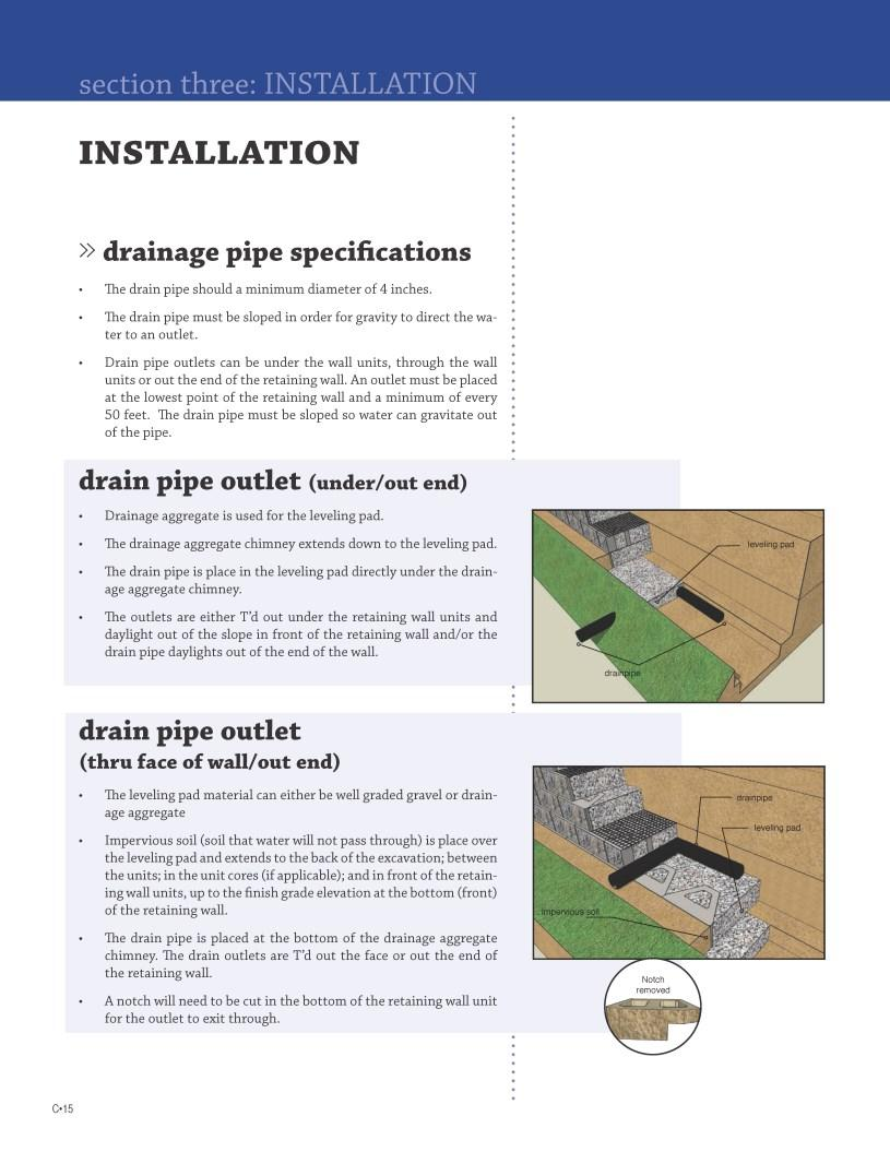 INSTALLATION» drainage pipe specifications The drain pipe should a minimum diameter of 4 inches.