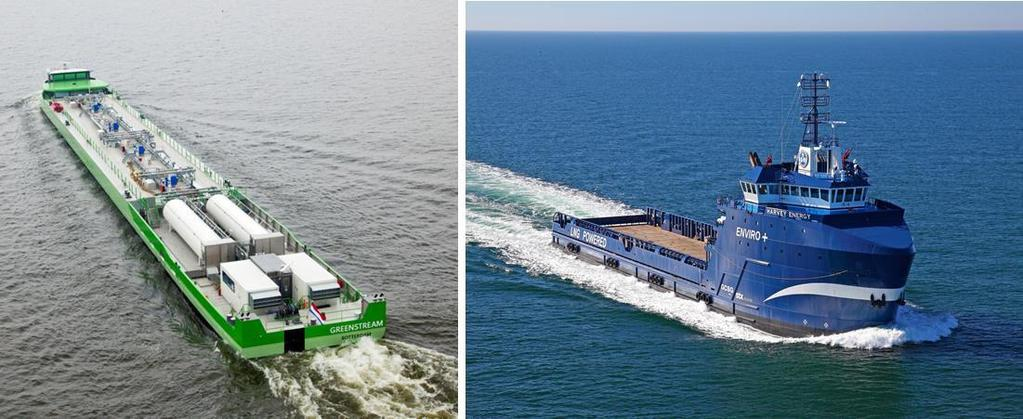 Figure 7 Developing LNG operating experience through LNG powered barges on the Rhine and Offshore Support Vessels in the Gulf of Mexico What is consistent among these initial steps is balancing the