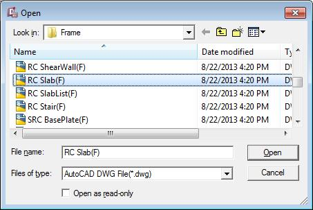 Specify the file location of frame file and