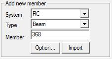 Select RC Beam Member The specified design code in Design+ and midas Gen