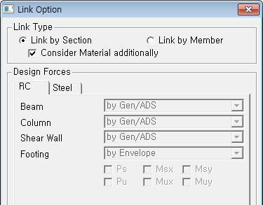 In Link > Link Option menu, if Link Type is selected as Link by Section, the most critical design results among the members assigned with the identical section properties are imported