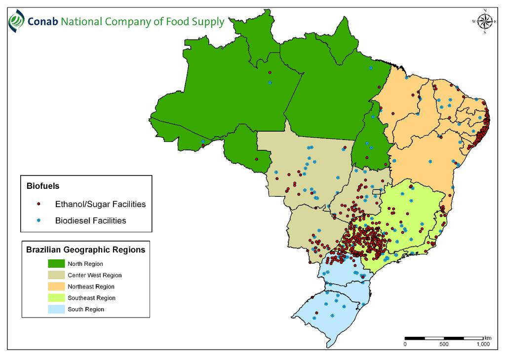 Sugarcane industry: southeastern (São Paulo, Minas Gerais), midwest (Goiás, Mato Grosso do Sul), northeastern (Alagoas, Pernambuco) 391 industrial plants to produce sugar, ethanol, animal feed, and