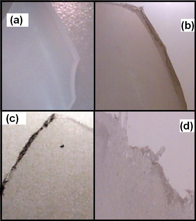 Figure 2-17. Structural integrity of PLA subjected to alkaline media: (a) 0.1N 2d, (b) 0.