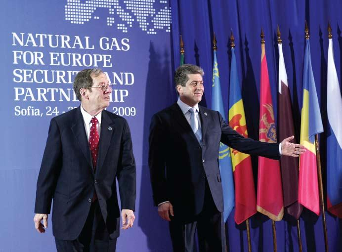 analysis U.S. Special Envoy for Eurasian energy Richard Morningstar with Bulgarian President Georgi Parvanov during the Sofia Energy Summit.