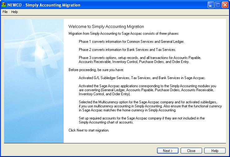 Run the Simply Accounting Migration Program 2.