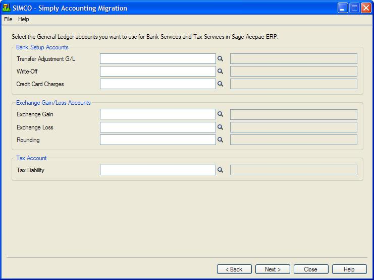 Run the Simply Accounting Migration Program The program then displays the following screen: 8. Click Next.