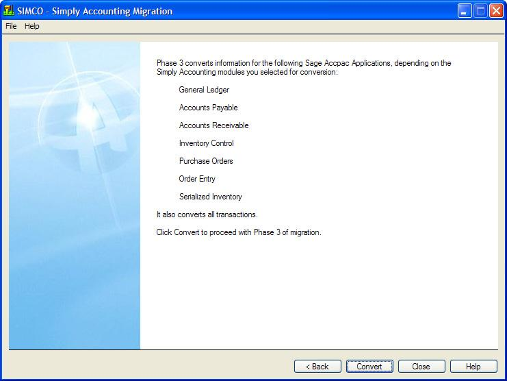 Run the Simply Accounting Migration Program 18.