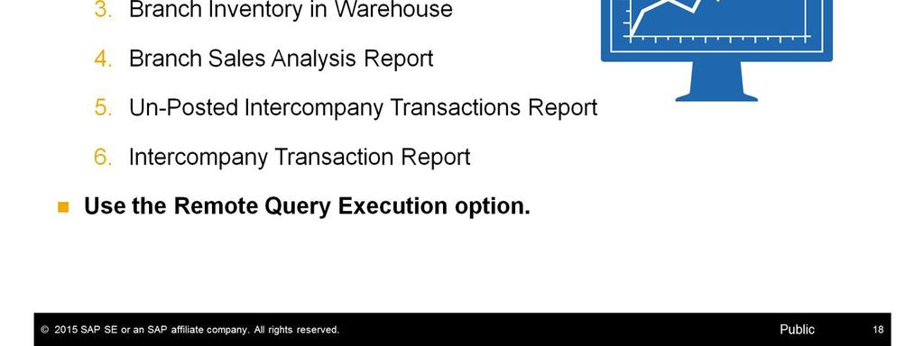 Report, and the Intercompany Transaction Report. The reports can easily be exported to Microsoft Excel. You can also use the Remote Query Execution option.