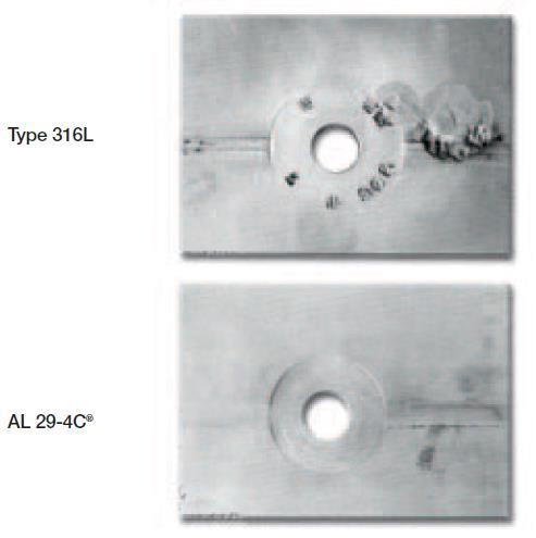 Figure 4 Test Panels with Artificial Crevices after 9 Months of Exposure to Seawater. Seawater Testing AL 29-4C alloy has also been tested in a seawater immersion test.