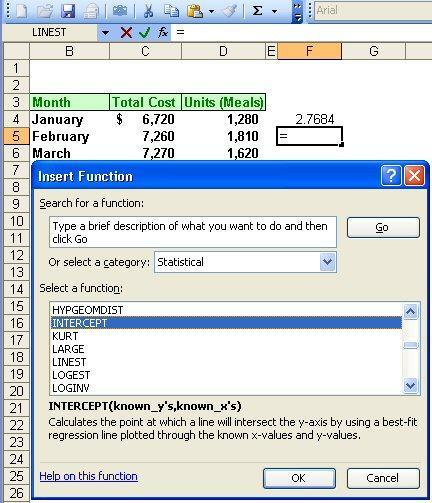 2-69 Simple Regression Using Excel With your cursor in cell F5, press the = key and go to the pull