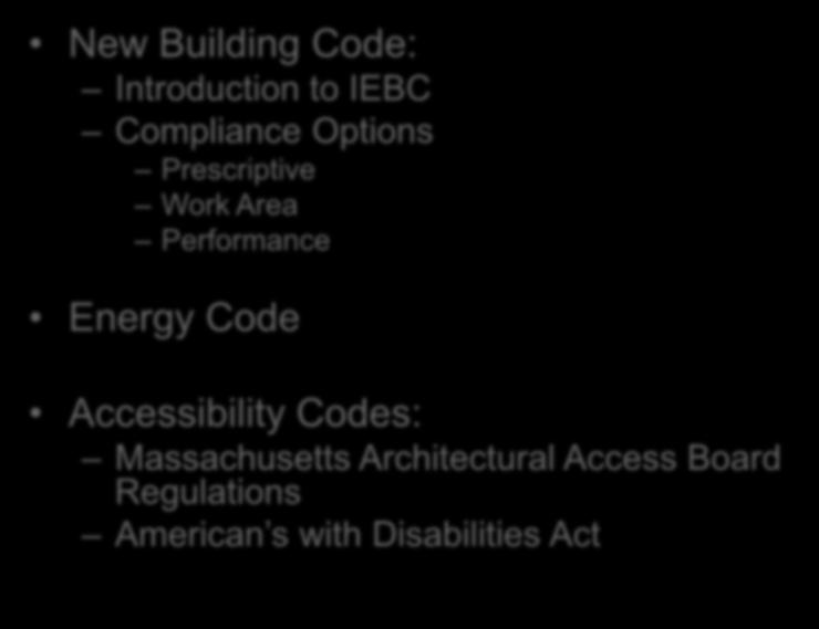 Area Performance Energy Code Agenda