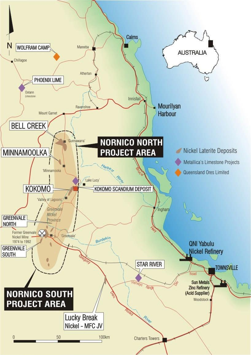 NORNICO Ni-Co Project - Location & Setting Excellent Location km from coast in rural setting Proven Ni-Co region NORNICO Key Ni-Co deposits Bell Creek