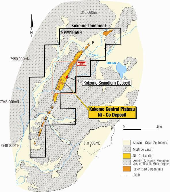 Kokomo Ni-Co-Scandium (Sc) Cobalt-Scandium rich nickel laterite Detailed Drilling Focused on the Kokomo Central Plateau ~km strike & width up to m Maiden Resource (Jan ) Kokomo Central.Mt @.%Ni &.