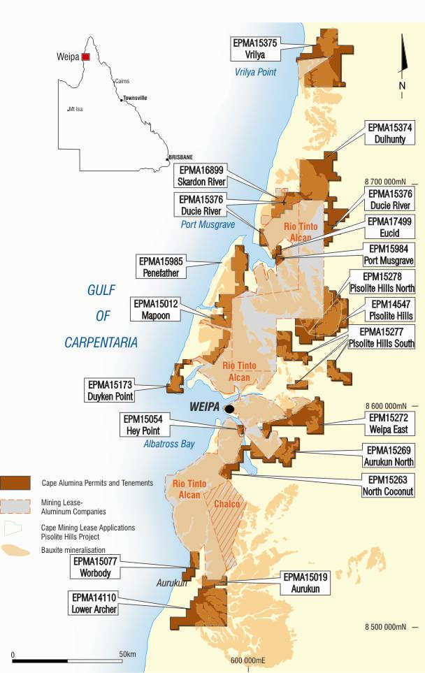 Cape Alumina Key Points (MLM %) Premier land position -Tenements over, km² of world-class Weipa bauxite province - % held.