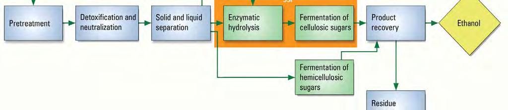 Steps in cellulosic ethanol