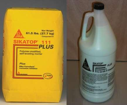SikaTop 111 Plus Packaging: A Comp: 1 gal Jug of Dispersion. B Comp: 61.