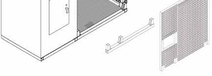 Lift the door panel off of the floor stanchions of the shipping container, then