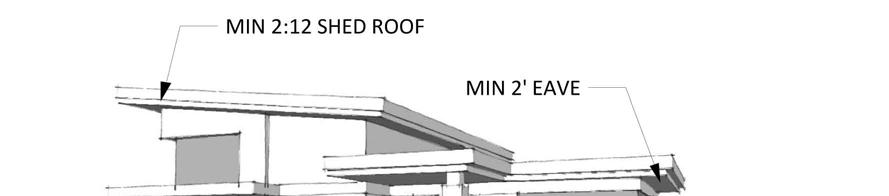 5. All roof vents, pipes, antennas, satellite dishes, and other roof penetrations and equipment (except chimneys) shall be located on the rear elevations or configured to have a minimum visual impact