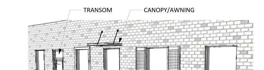 c. Canopies, shutters, or awnings, proportional to window size. d. Recessed inset from the front façade by at least two inches (2 ). E. Materials. 1.