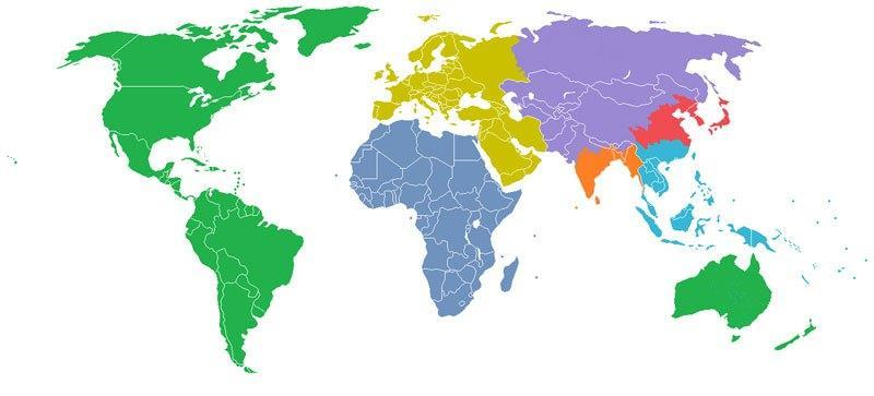 World Divided Into 7 Regions,