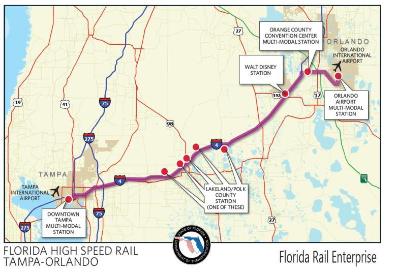 6-20 Florida s High Speed Rail Program Florida has been a strong candidate for high speed rail development since the 1980s.