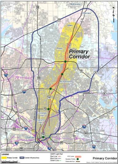 US 75 Corridor Networks Freeway with continuous Frontage Roads Managed HOV lanes Dallas North