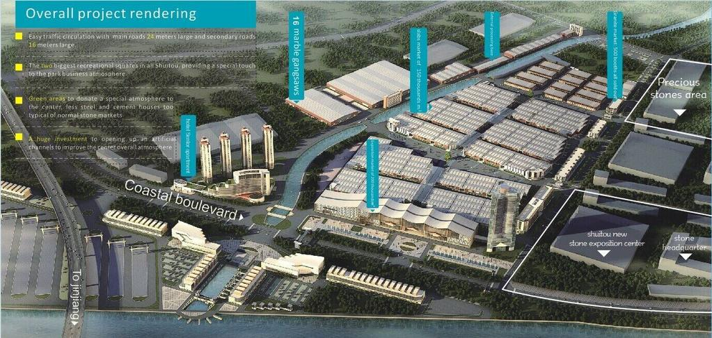 Rendering of the overall project The pictures below refer to the rendering made 2 years ago. To see updated and real pictures please check the website www.haixigufen.com.