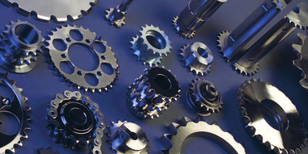 "Sprockets and plate wheels We manufacture and machine sprockets and plate wheels for simplex, duplex, triplex and quadruple custom chains, with pitch from 6"" to 3"" and up to 3,000 mm"