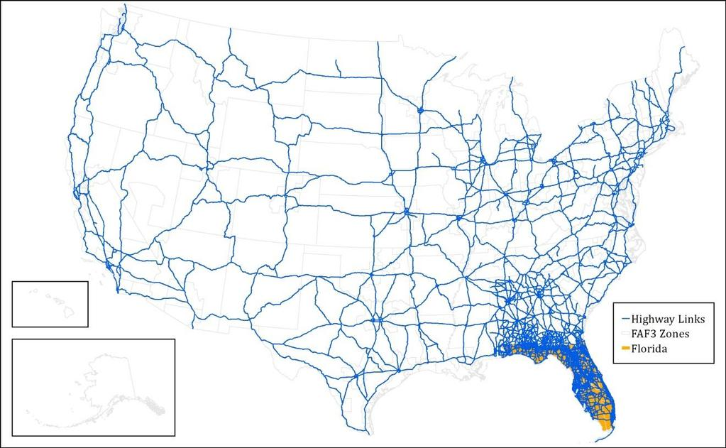 Networks and Network Skims In addition to the Florida highway