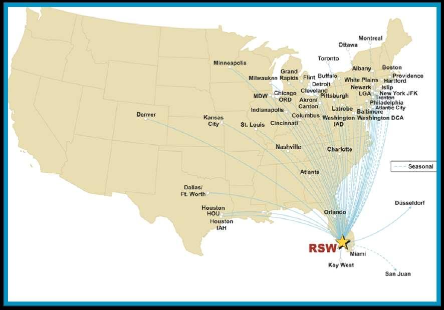 46 Nonstop Destinations 5 International Destinations 15 Different