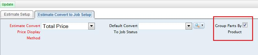 of the estimate on the Convert to Job page.
