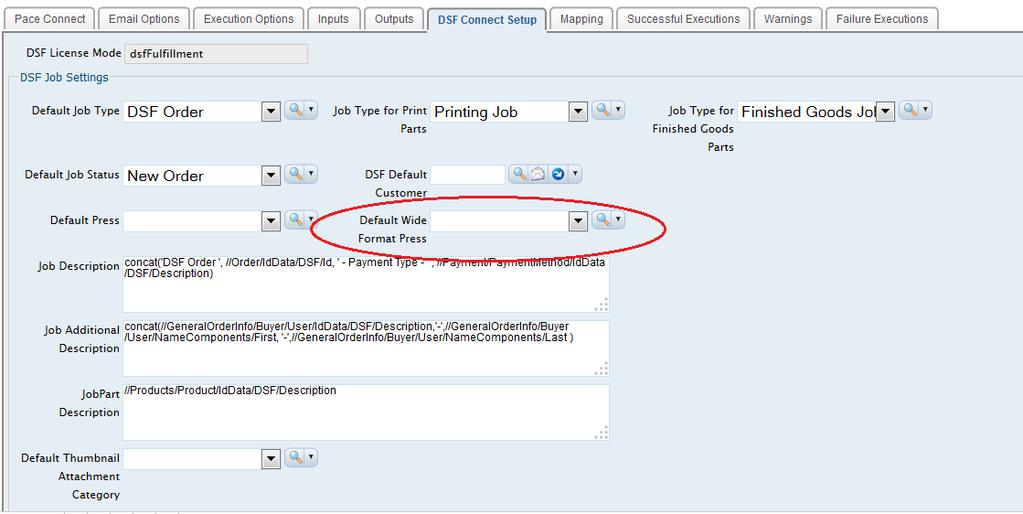 The adjustment fields on the DSF Connect Setup tab on the DSF PaceConnect record include Rush Fee, Setup Fee, Handling
