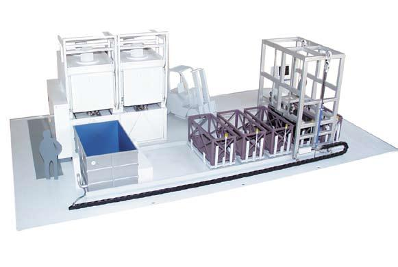 After solution annealing, the conveyor unit positions itself in front of the furnace, the door opens, the bogie moves out, and the basket is automatically picked-up by the lift conveyor.