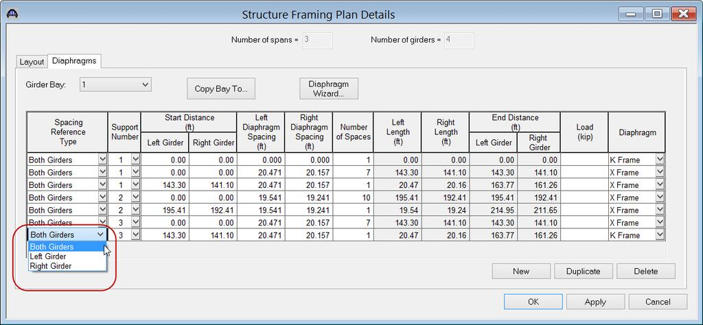 Open the Framing Plan Details: Diaphragms tab to see how diaphragm definitions are assigned to the framing plan.