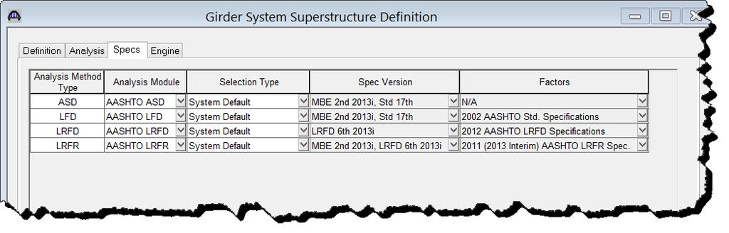 The analysis of all member alternatives in the superstructure definition will use the following engine and specification set on the Specs tab.
