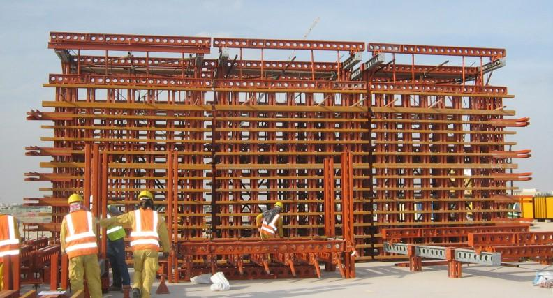 Composite bridge deck formwork. Support structures for temporary site buildings.