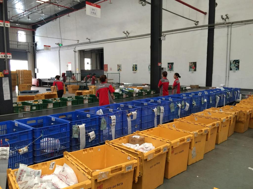 Figure 5: Sorting of Light Orders into Delivery Bins The second distribution channel involves larger parcels, mostly packaged boxes or large bags