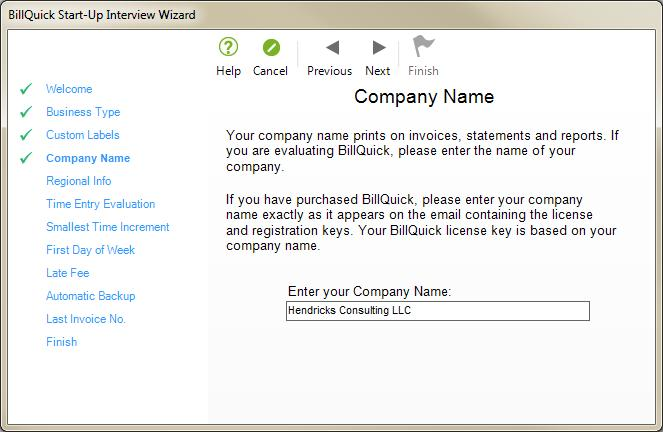 On the New BillQuick Database dialog box, enter a name for the new database. Most commonly, the company name is used for easy identification. Click the Open button.