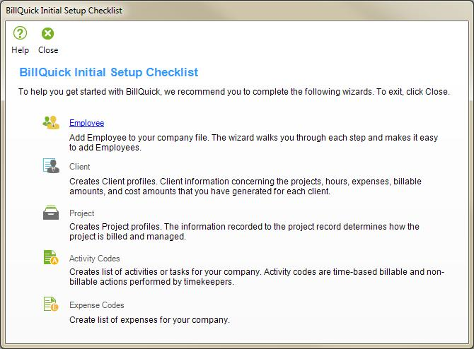 button. The BillQuick Initial Setup Checklist wizard displays.
